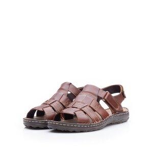 Sandale barbati din piele naturala, Leofex - 144 Cognac box