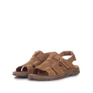 Sandale barbati din piele naturala, Leofex - 323 Camel nabuc