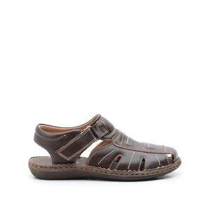 Sandale barbati din piele naturala,Leofex - 929 Maro Box