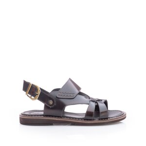 Sandale barbati din piele naturala, Leofex - 949 Maro florantic
