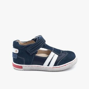 Sandale copii din piele naturala,Leofex – 119 albastru box nabuc