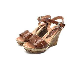 Sandale cu platforma dama din piele naturala - 034 Cognac