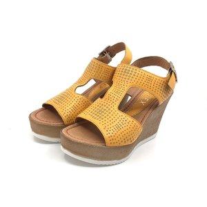 Sandale cu platforma dama din piele naturala- 165 Mustariu Box