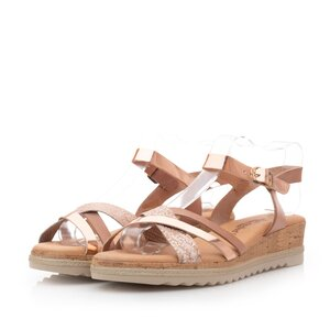 Sandale cu platforma dama din piele naturala - 97704 Nude auriu box