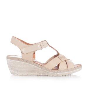 Sandale cu platforma dama din piele naturala,Leofex-214 Taupe Box