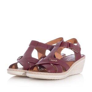 Sandale cu platforma dama din piele naturala,Leofex-214 Visiniu Box