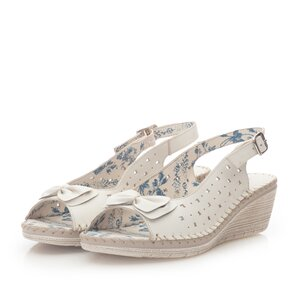 Sandale cu platforma dama, perforate din piele naturala, Leofex - 259 Bej box