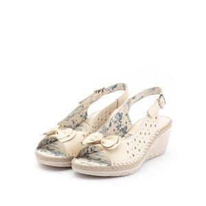 Sandale cu platforma dama, perforate din piele naturala, Leofex - 259 Crem box