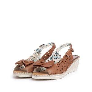 Sandale cu platforma dama, perforate din piele naturala, Leofex - 259 Maro box