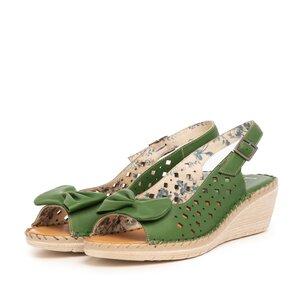 Sandale cu platforma dama, perforate din piele naturala, Leofex - 259 Verde box