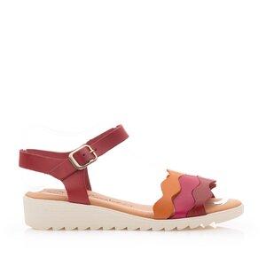 Sandale cu talpa joasa dama din piele naturala - 11901 Rosu box
