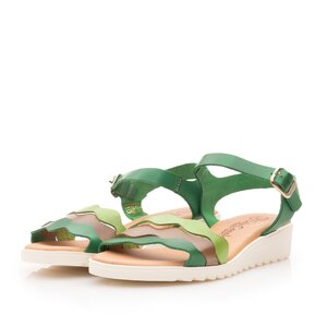 Sandale cu talpa joasa dama din piele naturala - 11901 Verde box