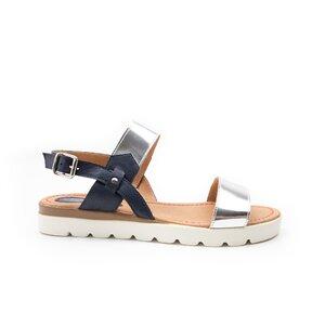 Sandale cu talpa joasa dama din piele naturala, Leofex - 168 blue+argintiu box