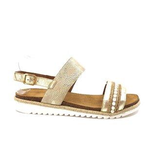 Sandale cu talpa joasa dama din piele naturala,Leofex - 206-1 Auriu box