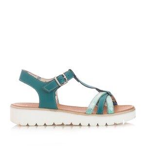 Sandale cu talpa joasa dama din piele naturala,Leofex - 209 Verde box