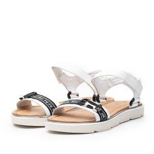 Sandale cu talpa joasa dama din piele naturala,Leofex - 257-1 Alb box