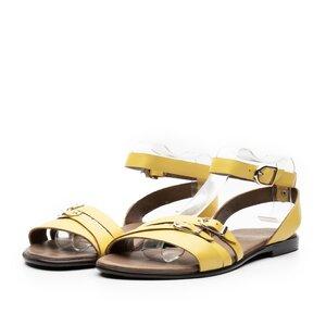 Sandale cu talpa joasa dama din piele naturala,Leofex-262 Galben Box