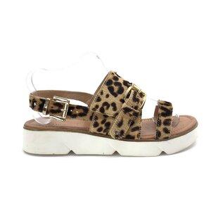 Sandale cu talpa joasa din par,Leofex-Mostra Leopard