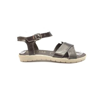 Sandale dama  cu talpa joasa din piele naturala - 505 gri inchis box sidefat