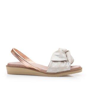 Sandale cu talpa joasa din piele naturala - 830 Argintiu Box Sidefat