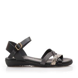 Sandale cu talpa joasa din piele naturala,Leofex - 2363 Negru Box