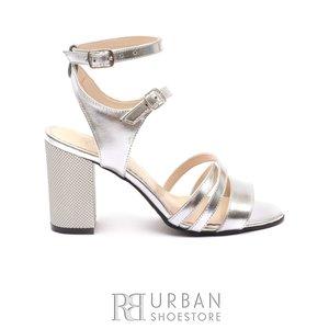 Sandale cu toc dama din piele naturala - 1082-14  Argintiu