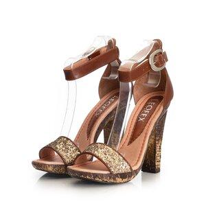 Sandale cu toc dama din piele naturala, Leofex - 039-2 cognac auriu