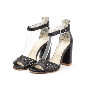 Sandale cu toc dama perforate din piele naturala, Leofex - 251 negru box
