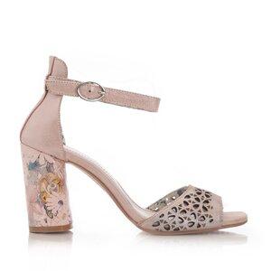 Sandale cu toc dama perforate din piele naturala, Leofex - 251 Nude Metalizat Box