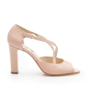 Sandale cu toc elegante dama din piele naturala - 028/PU Nude Box Sidefat