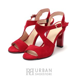 Sandale cu toc elegante dama din piele naturala - 1317-6  Rosu Velur