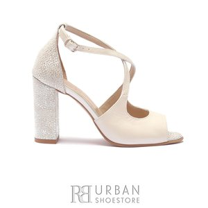 Sandale cu toc elegante dama din piele naturala- 1952 Alb Argintiu