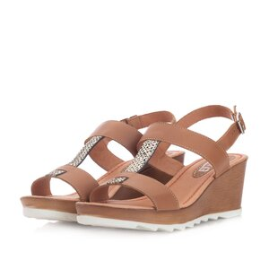 Sandale dama casual din piele naturala Leofex- 163 Taupe argintiu Box