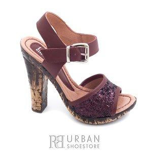 Sandale cu toc dama din piele naturala, Leofex - 038-3 visiniu