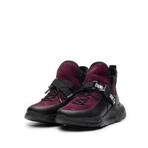 Sneakers dama din piele naturala,Leofex - 288 Negru+mov box velur