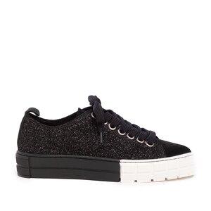 Sneakers dama din piele naturala,Leofex - 308 Negru velur cu sclipici