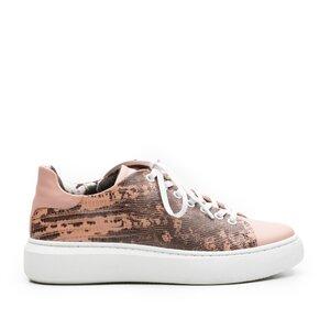 Sneakers dama din piele naturala,Leofex-310 Roz Box