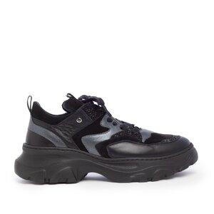 Sneakers dama din piele naturala,Leofex - 313 Antracit+Negru box velur